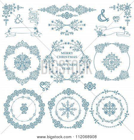 Christmas,New year decor set.Winter.Wreath frames