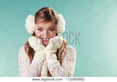 Afraid Cute Pretty Woman Girl In Earmuffs.