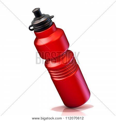 Red plastic sport bottles bottle. 3D