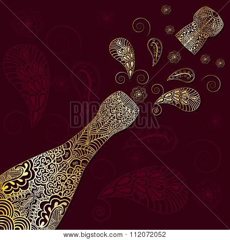Greeting Background With Gold Patterned Champagne Bottle With Cork Emitted. Ornament In Ethnic Style