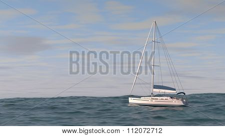 yacht with flured sales in the sea