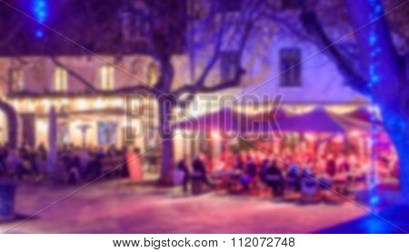 blurred night outdor bar