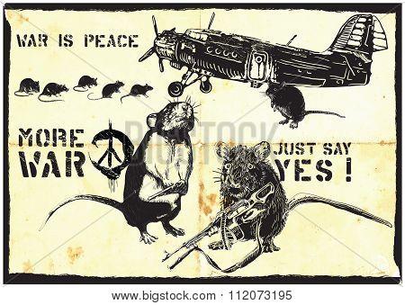 More War, Rats - Hand Drawn Vector