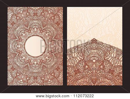 Set Of Ethnic Template For Design Wedding Invitations And Greeting Cards. Traditional Henna Flowers