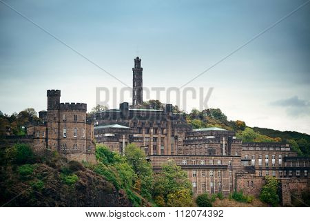 Calton Hill with Nelson monument in Edinburgh, United Kingdom.