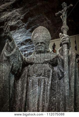 Pope John Paul Ii Statue In St. Kinga's Chapel