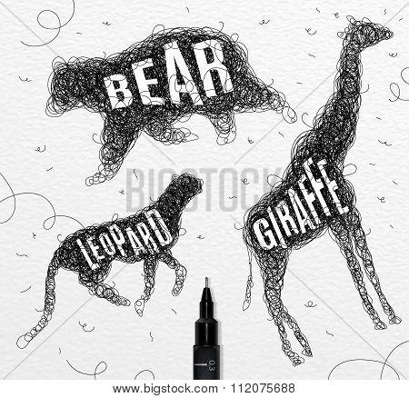Tangled Line Bear Black
