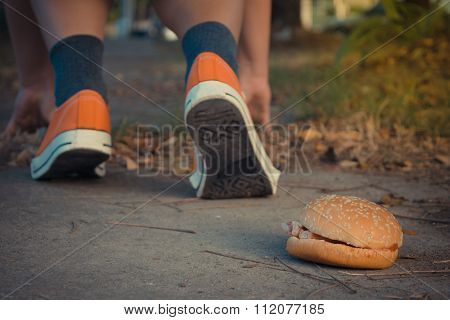 Hamburger And Jogging , Process In Vintage Style