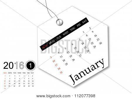 January 2016 - Calendar series for tag design