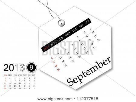September 2016 - Calendar series for tag design