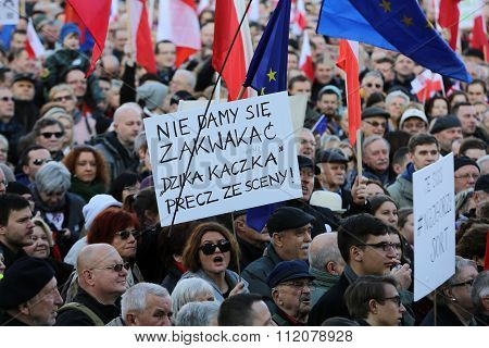 CRACOW POLAND - DECEMBER 19 2015: Cracow Main Square - The demonstration of the Committee of the Defence Protection of the Democracy against the break of law through the government PIS in Poland.