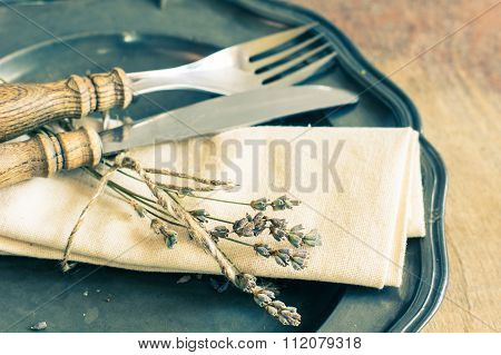 Dried Lavender On Rustic Background