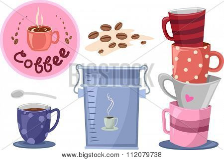 Illustration of Elements Related to Coffee Making