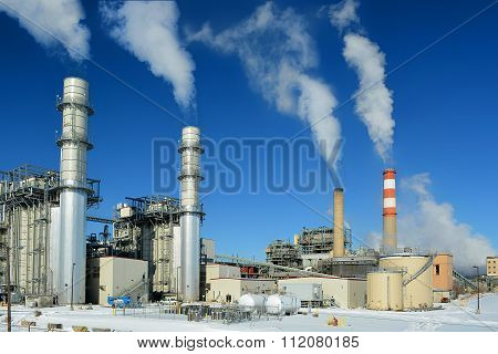 Coal Fossil Fuel Power Plant Smokestacks Emit Carbon Dioxide Pol