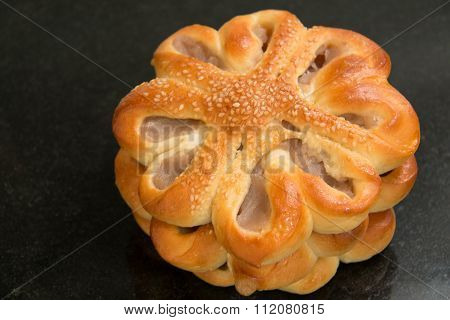 Taro Bread With Sesame On Black  Background