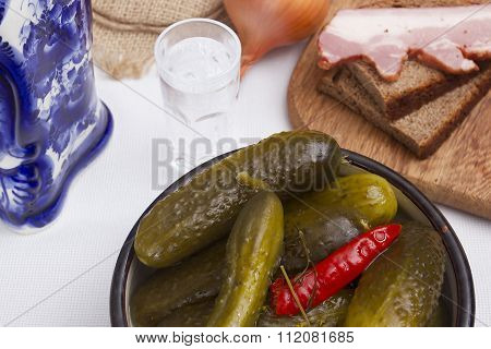 Pickled Cucumbers As A Snack To Vodka