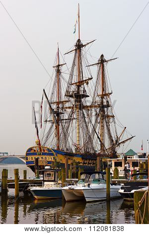A famous replica of La Fayette's Frigate on the voyage to United States