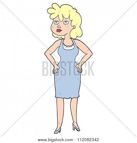 freehand drawn cartoon annoyed woman