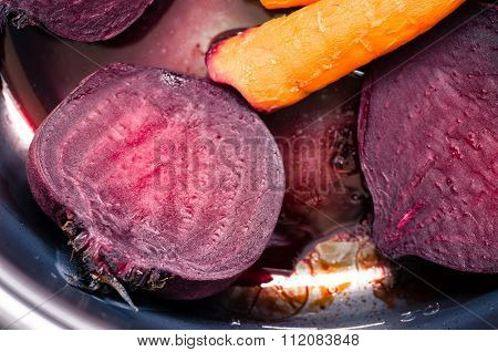 Boiled Beets And Carrots In The Pan