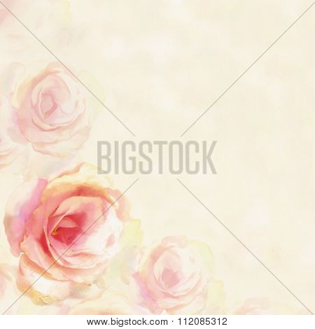 Greeting Card With Light Roses  On Hazed  Background In Pastel Colors