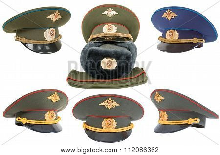 Different Russian Army Officers Caps Over White Background