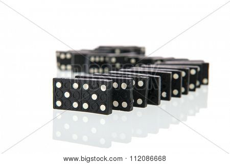 Row domino cards isolated over white background