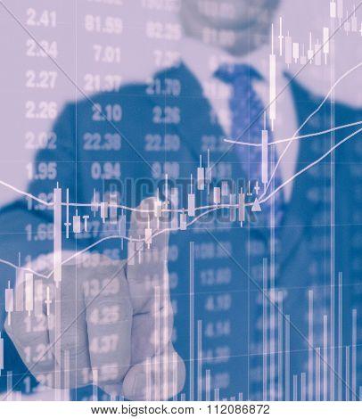 Businessman Pressing On Stock Price