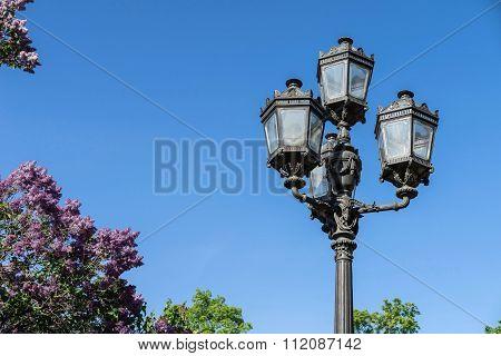 Ancient Iron Streetlight Against The Sky
