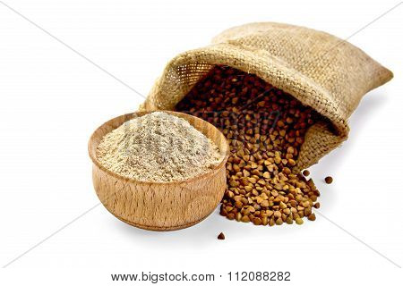 Flour buckwheat in bowl with cereals