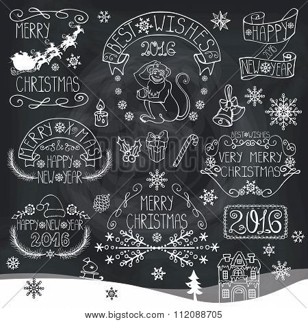 Christmas,New Year 2016 decoration,labels.Chalkboard