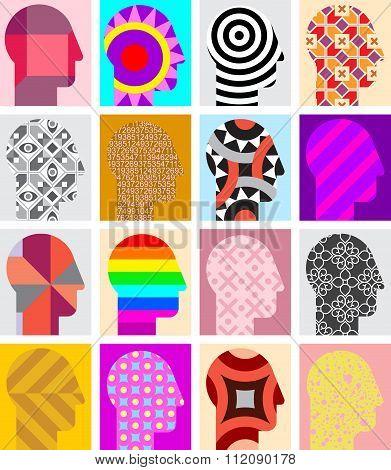 Set Of Human Head Silhouettes
