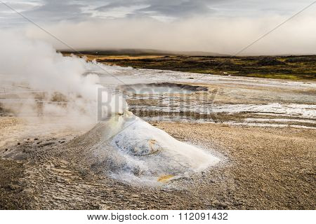 Icelandic geothermal steam hill
