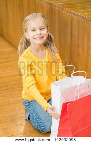 Little girl resting after shopping