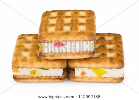 Biscuits Sandwiches With Souffle And Marmalade On White