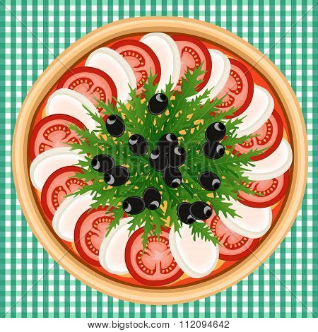 Pizza Caprese Arugula Olive