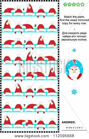 Christmas or New Year visual puzzle with rows of Santa caps