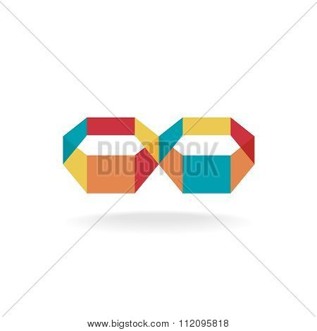Infinity Flat Colorful 3D Transparent Symbol Logo