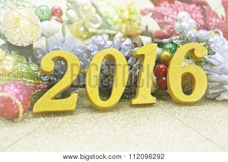 2016 New Year Decoration With Christmas Ornament On Gold Background, 2016 New Year Cocept