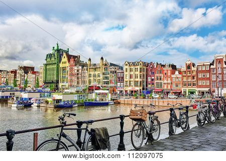 Amsterdam, Netherlands - September 15, 2015: Beautiful Views Of The Streets, Ancient Buildings, Peop