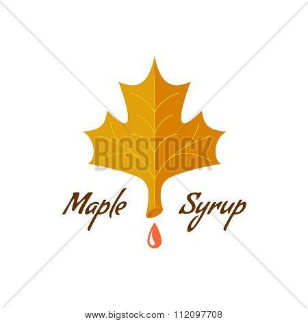 Maple Syrup Sign. Logo With Leaf, Drop And Text.