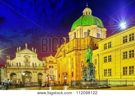 Prague, Czech Republic-september 13, 2015: Monument For Charles Iv Near Saint Francis And Charles Br