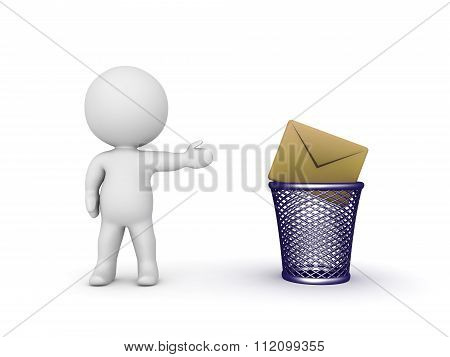 3D Character Showing Trash Basket And Mail Envelope