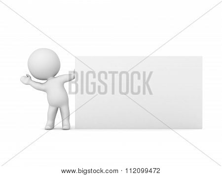 3D Character Waving From Behind Large Business Card
