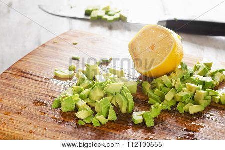 Choped Avocado With Lemon For Salad