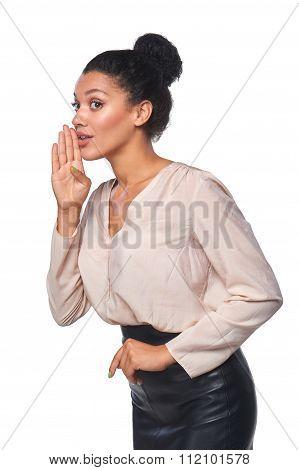 Business woman whispering gossip