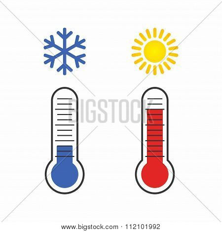 Thermometer measuring Heat and Cold, with Sun, Snowflake icons.