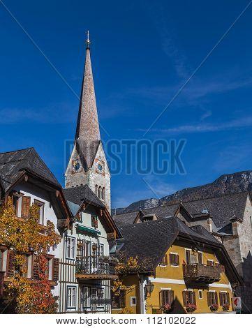 Marktplatz In Hallstatt In The Autumn