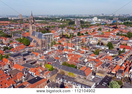 Aerial View Of Old City, Delft, Holland