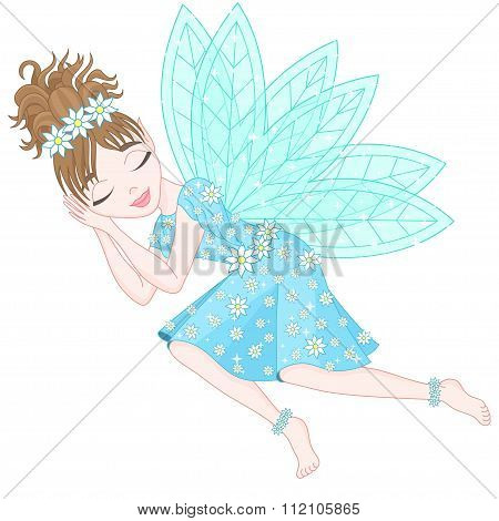 Cute fairy in bright cyan dress decorated of flowers
