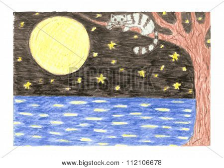 Romantic night landscape with cat on branch of tree, black sky with moon